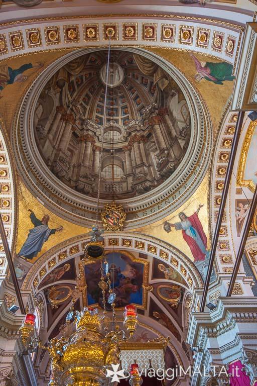Trompe l'oeil della cupola della Cattedrale dell'Assunzione a Victoria, Gozo