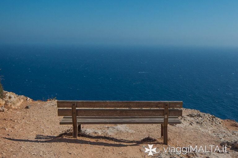 panchina sul mare a Dingli