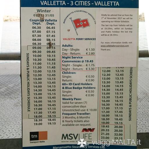 Orari dei traghetti da Valletta alle Tre Città