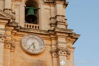dettaglio orologio della chiesa di Mdina