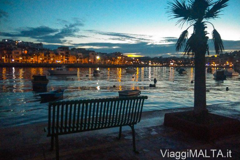 lungomare di Marsaskala al tramonto