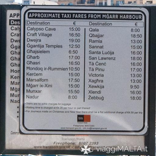 Cartello tariffe taxi da Mgarr