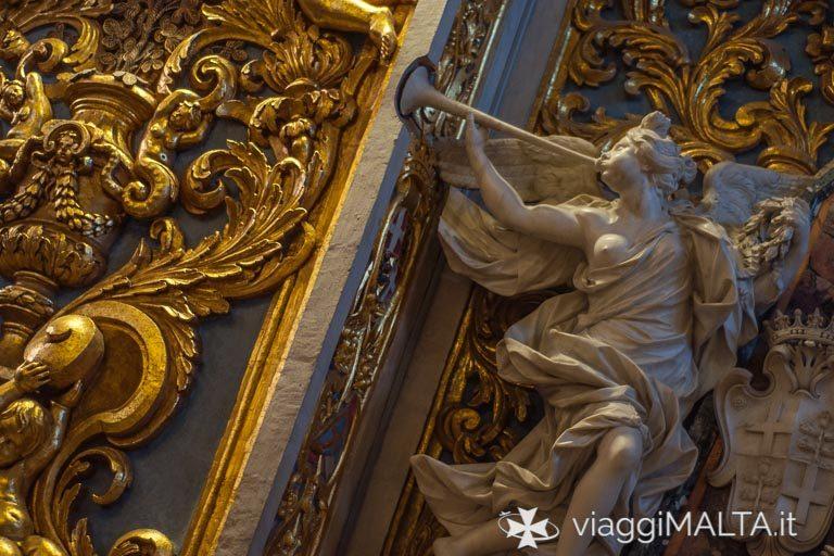 Dettagli della decorazione della Concattedrale San Giovanni a Valletta