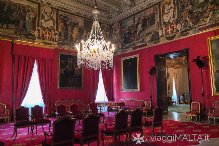 Sala degli ambasciatori nel palazzo del Gran Maestro a Valletta
