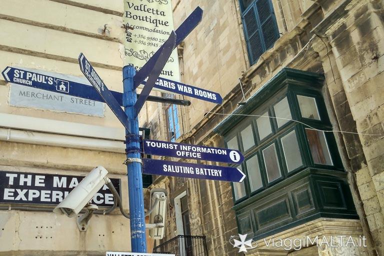 indicazioni turistiche a Valletta