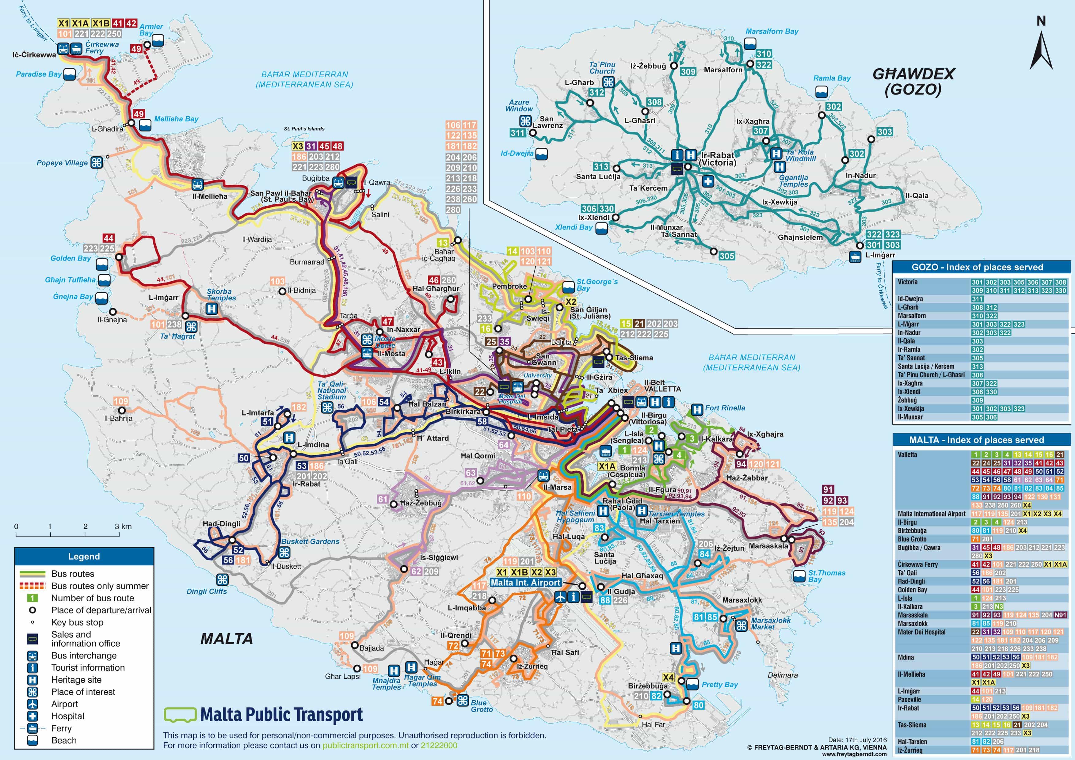 mappa delle rotte degli autobus a Malta